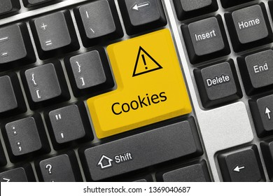 Close-up view on conceptual keyboard - Cookies (yellow key)
