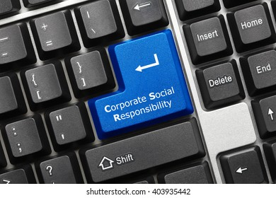Close-up view on conceptual keyboard - Corporate Social Responsibility (blue key)