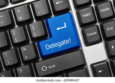 Close-up view on conceptual keyboard - Delegate (blue key)