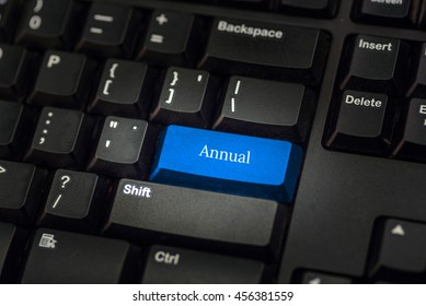 Close-up view on conceptual keyboard - annual