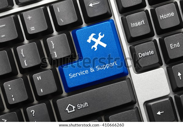 Close-up view on conceptual keyboard - Service and Support (blue key with tools symbol)