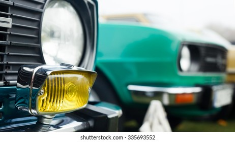 Closeup view on a foglight of a classic car