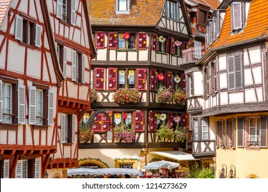 Close-up view on the old half-timbered buildings in Colmar, famous french town in Alsace region
