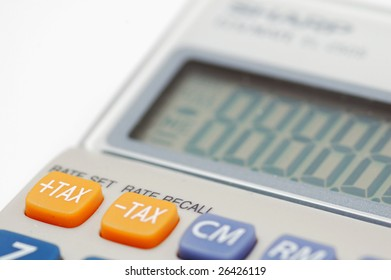 Close-up view on the tax button on a calculator.