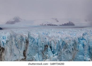 Close-up view on top surface of Perito Moreno glacier in Los Glaciares National Park, Santa Cruz province, Argentina