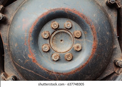 Closeup view on tractor's wheel, details of structure.