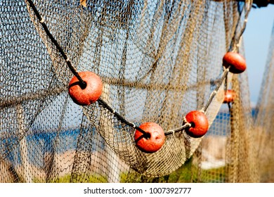 Closeup view on vintage fishing net hanging to dry