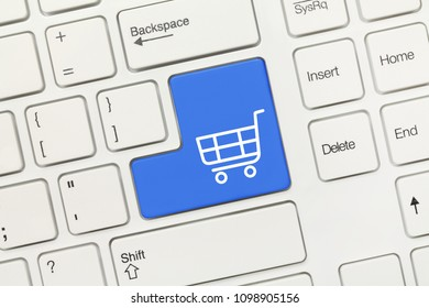 Close-up view on white conceptual keyboard - Shopping cart symbol (blue key)
