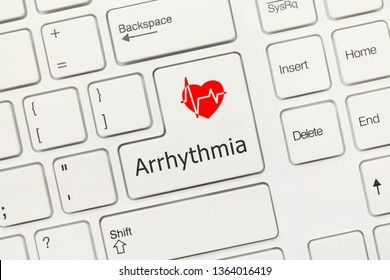 Close-up view on white conceptual keyboard - Arrhythmia
