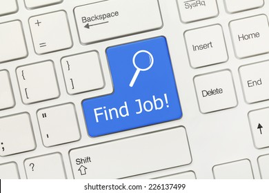 Close-up view on white conceptual keyboard - Find Job! (blue key)