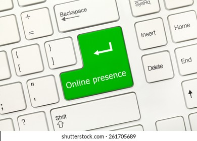 Close-up view on white conceptual keyboard - Online presence (green key)
