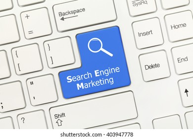 Close-up view on white conceptual keyboard - Search Engine Marketing (blue key with magnifying glass symbol)