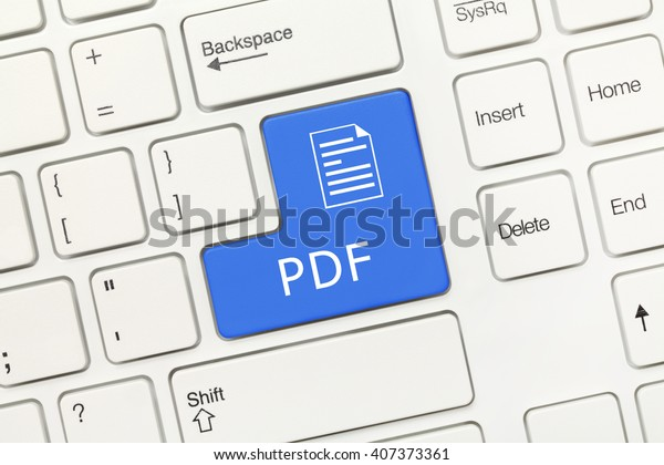 Close-up view on white conceptual keyboard - PDF (blue key)