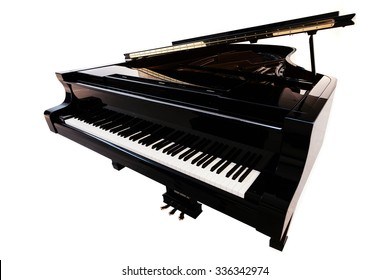 Closeup view of one beautiful big shiny black open piano forte with white key board standing in studio isolated on white background, horizontal picture