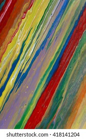 Closeup view of an original strips painting. Multicolored bright texture. Fragment of artwork, modern art, contemporary art. Mixed media. Avant-garde art. Stains, spray paint. Colorful lines.