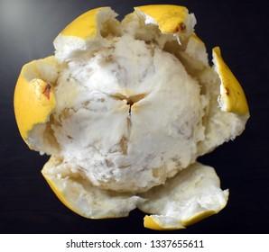 Closeup view of outspread fresh pomelo