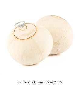 close-up view of pull-tab coconut isolated on white background.