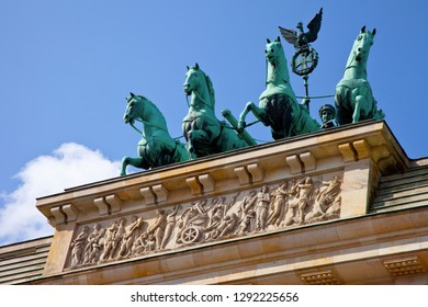 A close-up view of the quadriga on top of the Brandenburg Gate in the historic city of Berlin in Germany.