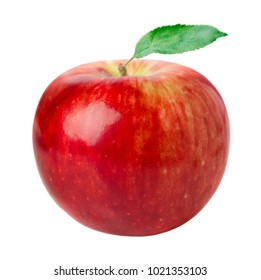 close-up view of red ripe apple isolated on white background