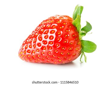 close-up view of ripe starwberry isolated on white background
