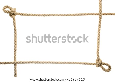 Closeup View Rope Frame Knots Isolated Stock Photo (Edit Now ...
