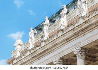 Close-up view of row of statues in a royal palace in Budapest