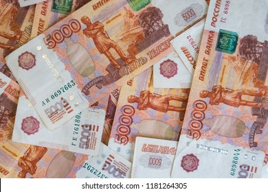 Close-up view of Russian rubles. Five thousand banknotes. Finance and business concept