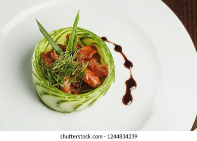 Close-up view of salad on white plate