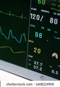 Closeup view of screen of vital signs or Blood pressure patient details in a hospital