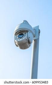 close-up view of security camera