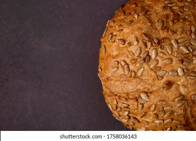 close-up view of seeded brown cob on right side and maroon background with copy space