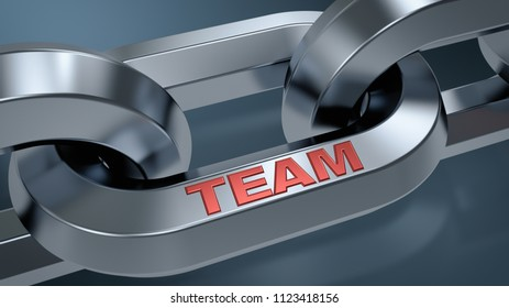 closeup view of a shiny chain with text, TEAM, concept of teamwork (3d render)