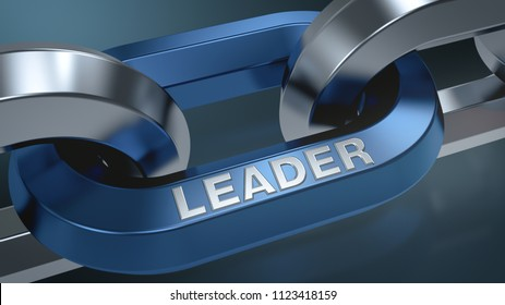 closeup view of a shiny chain with text, LEADER, concept of leadership (3d render)