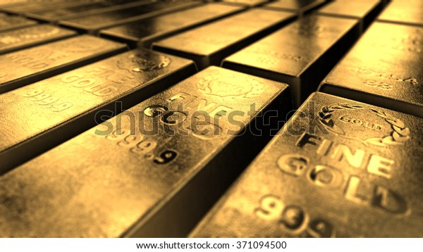Close-up View Of Shiny Gold Bars Stacked Up In Perfect Rows With Ambient Light Reflected From Its Surfaces. Concept Of Banking And Ultimate Wealth.