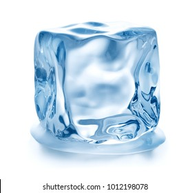 closeup view of single cube of ice isolated on white background