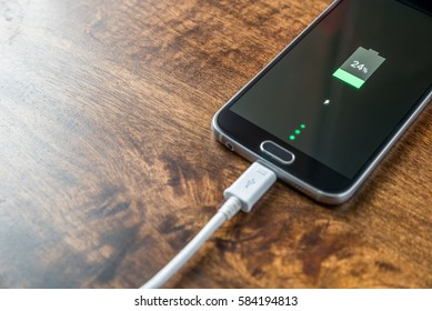 Close-up view of smartphone charging batterypercent