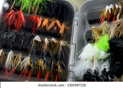 Closeup view of some fly fishing tackle.