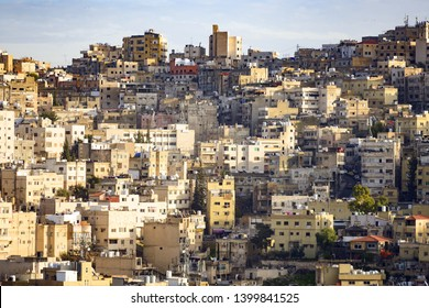 Close-up view of some residential buildings seen from the Amman Citadel in Jordan. The Amman Citadel is a historical site in Amman, Jordan.