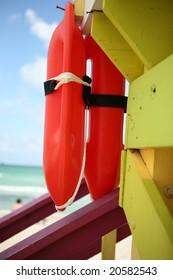 Closeup view of South Beach Lifeguard Tower and Ocean