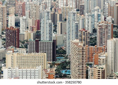 "Close-up view of the Spanish "" Little Manhattan"" city of Benidorm, Spain"