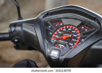 Close-up view of speedometer on motorcycle (Indonesian scooter or Motor Bebek)