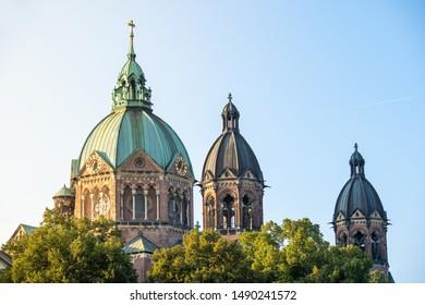 Closeup view of St. Luke church in munich protestant church during sunset