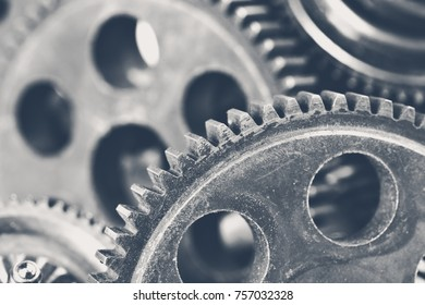 Close-up view of stack of gears