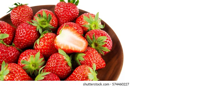 Close-up view of strawberry on white background. strawberry banner.