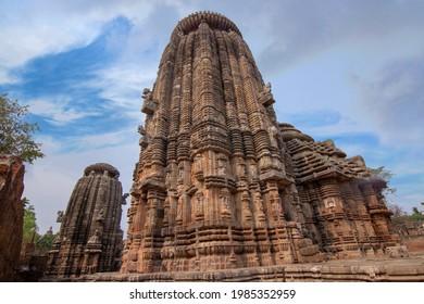 Closeup View of Suka Sari Temple with clouds, Bhubaneswar, Odisha, India