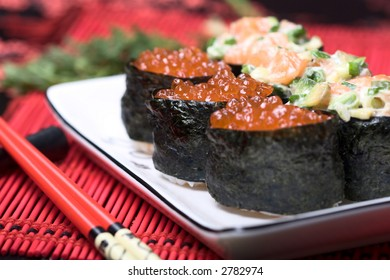 Closeup view of sushi with red caviar