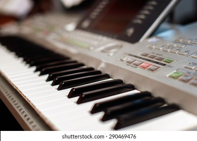 closeup view of a synthesiser keyboard
