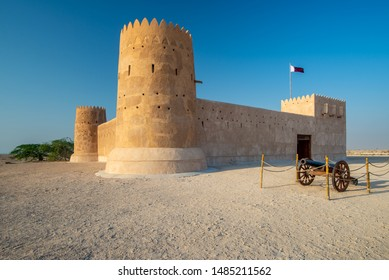 Close-up view taken at sunset of the main entrance of the Al Zubarah fort, Qatar