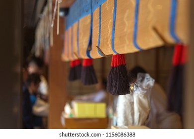 Close-up view of temple interiors and decorations in a Buddhist temple in Tokyo, Japan