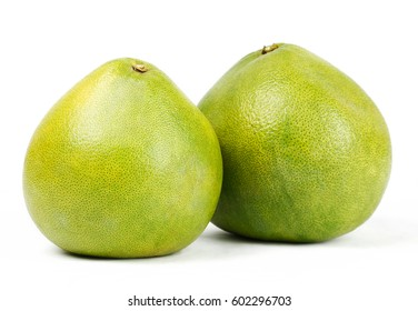 close-up view of Thailand pomelo isolated on white background.